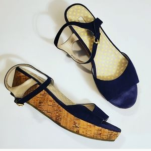 Boden Blue Open Toe Cork Ankle Strap Wedges